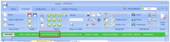cuadro de mando iSegur Crear recibo manual.