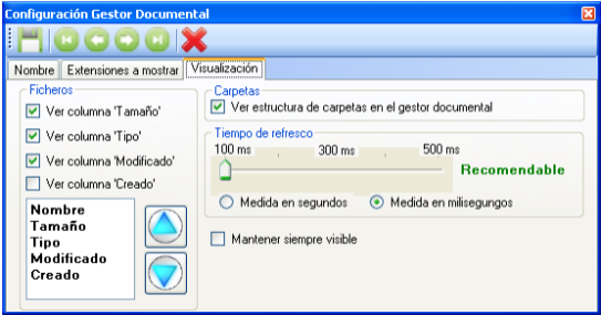 configuracion del gestor documental. visualizacion