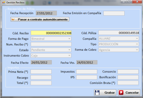 gestion de recibos isegur